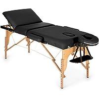 Klarfit MT 500 camilla de masajes plegable (210 cm, 200 kg, fácil transporte, regulable, respaldo 9 niveles, partes extraíbles, revestimiento 10 cm espuma, con bolsa) - negro