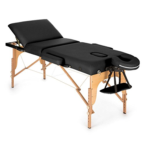 Preisvergleich Produktbild Klarfit MT 500 • Massageliege • Massagetisch • Massagebank • 10-stufige Rückenlehne • Armlehnen • Kopfstütze • verstellbare Fußstützen • Gesichtsloch • 10 cm Polsterung • Feinzellschaum • Kunstleder • tragbarer Transport-Koffer • verschiedene Farben