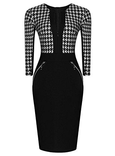 Miusol Damen Kleid Mit 3/4-Arm Hahnentritt Muster mit Reissverschluss vorne?Business Abendkleider Schwarz EU 38/M - 3