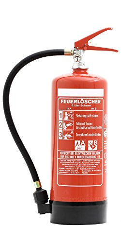 feuerloescher spray Feuerlöscher 6 Liter Schaum | Brandklasse A und B | mit Halterung | Manometer | Prüfnachweis & gratis ANDRIS® Feuerlöscher Symbolschild Folie