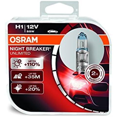 Osram 64150NBU-HCB Night Breaker Unlimited H1 Lampada Alogena per Proiettori, Confezione Duobox