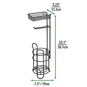 mDesign Toilettenpapierhalter - eleganter Papierrollenhalter aus Metall - WC-Rollen-Halter mit Regal - praktische Aufbewahrung fürs Badezimmer - mattschwarz