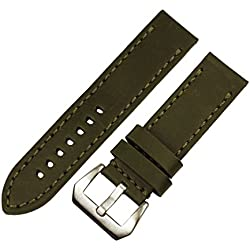 RECHERE Smooth Matt Leather Wristwatch Watch Band Strap Stitch Big Silver Brushed Pin Buckle (DK Green 24mm)