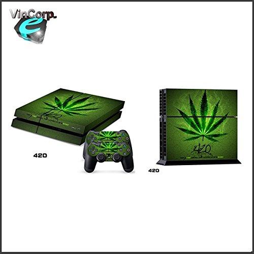 VINCORP Sony PS4 Playstation 4 Skin Design Foils Aufkleber Schutzfolie Set - Weed Hanf Pflanze Design 1 [PlayStation 4] …