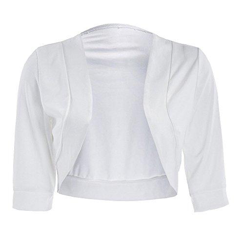 Donna Bolero Elegante Bolerino A Mezza Manica Coprispalle E Cardigan Corto Per Cerimonia Feste Party Shrug Bianco 2XL