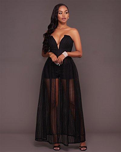Femmes Sexy Tube Top Texture Net Haute Taille Slim Fake Deux Piece Clubwear Robe Noir