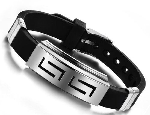 Stayoung Jewellery Forma Laberinto Hombre Acero Inoxidable Ajustable Pulsera/Brazalete, Color Negro Plateado