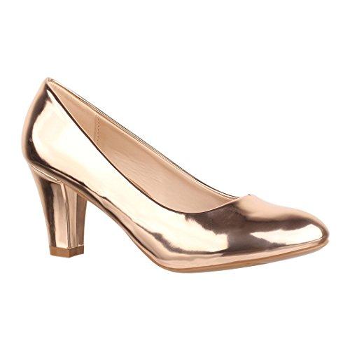 Elara Damen Pumps | Bequeme High Heels Lackoptik Trichterabsatz | Vintage-Style | Chunkyrayan 7056-P-Champagner-39