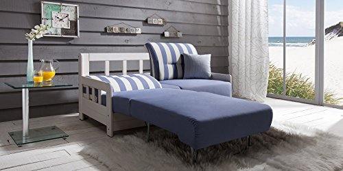 Schlafsofa CAMPUS Blau Weiss Stoff Sofa Couch Massiv Holz Schlafcouch Bettfunktion thumbnail