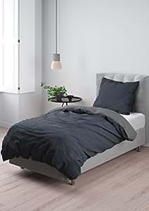 aminata bettw sche 135x200 cm baumwolle rei verschluss zum wenden unifarben grau schwarz. Black Bedroom Furniture Sets. Home Design Ideas