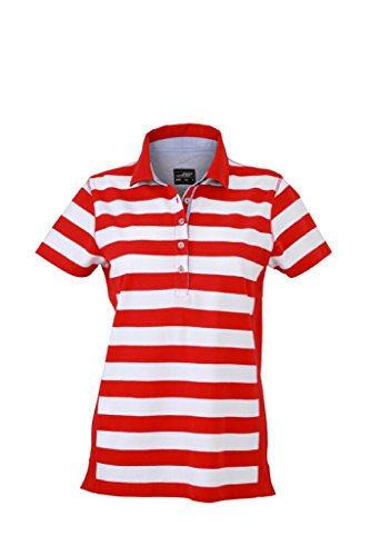 JAMES & NICHOLSON Polo tendance a rayures rouge/blanc