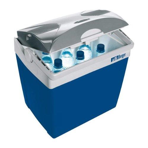 Preisvergleich Produktbild Berger Kühlbox DC, blau/grau, 26 Liter, Kühltruhe mit 12 Volt Anschluss für PKW LKW