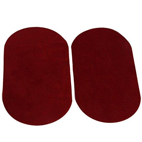 Oval Knie Ellenbogen Aufnaeher - SODIAL(R) Pair Oval Beflockung Stoff Eisen auf Knie Ellenbogen Aufnaeher 18x11cm (Rot) Rote Eisen-auf Stoff