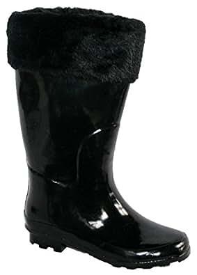 New Ladies Fur Winter Snow Rain Wellington Boots Black Size UK 9
