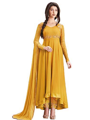 Glamify Women\'s Georgette Semi-Stitched Anarkali Suit (Mustard_Free_Size)