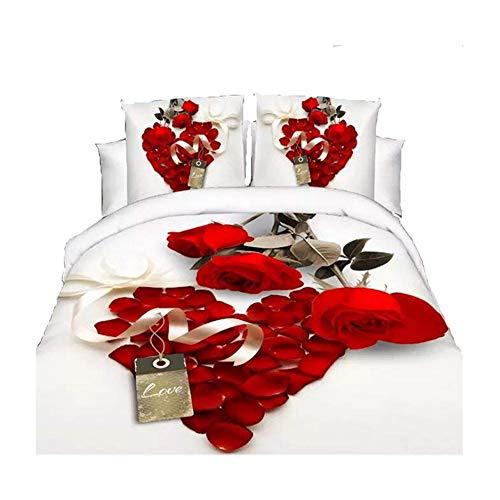 3D Hot Weiß Rot Rose Bettwäsche-Set Diamanten Bettbezug Doppelbett Bettlaken Kissenbezüge (Welt-bettwäsche-set)