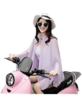 Efudfj Señora Bufanda Generosa Silk Protector Solar Respirable Buena Elasticidad Suave Piel-amigable Mantón Toalla...