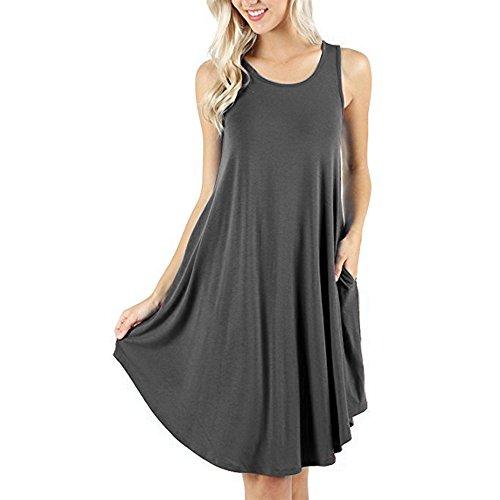 d.Stil Damen Kleid Casual Ärmellos Rundhals mit Taschen Basic Longshirt S-XXXXL (L, Grau) (Damen Kleid-boote)