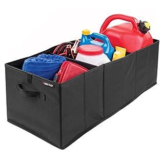 mDesign Swiss+Tech Aufbewahrungsbox mit Griffen für den Kofferraum – faltbare Transportbox fürs Auto, Wohnmobil etc. – praktisches Autozubehör aus Polyester – schwarz