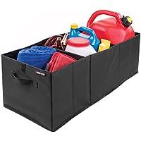 mDesign Swiss+Tech Caja plegable con asas para colocar en el maletero del coche – Organizador de maletero para auto, autocaravana y más – Prácticos accesorios para coche en poliéster – negro