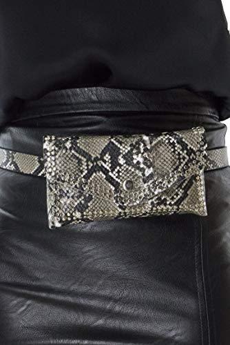 Borsette italiane donna marsupio cintura casual borchiata chiusura bottoncino animalier bianca nera leopardata piccola, pitone, un