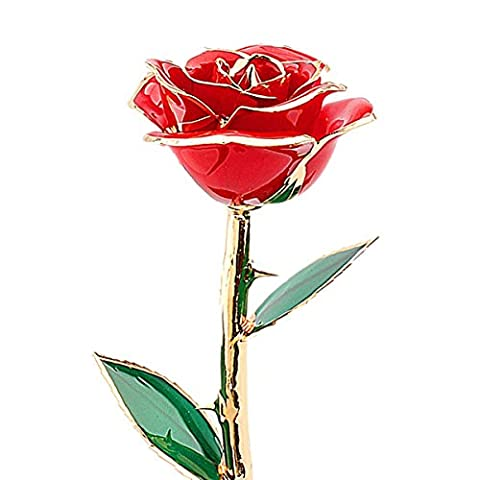 Valentines Gifts for Her,Rose ZJchao 24 Carat Gold Dipped Real Red Rose Flower,Love Gift for Girlfriend Birthday Christmas Anniversary Day Decoration Flower