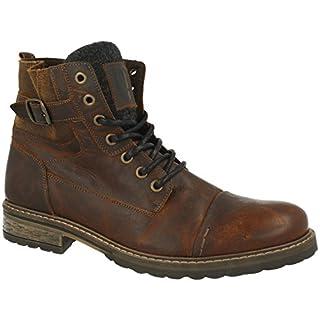 BULLBOXER Herren Stiefel 285K84158,Männer Boots,Lederstiefel,Schnürstiefel,Combat,Chukka,Blockabsatz,Brown,EU 43