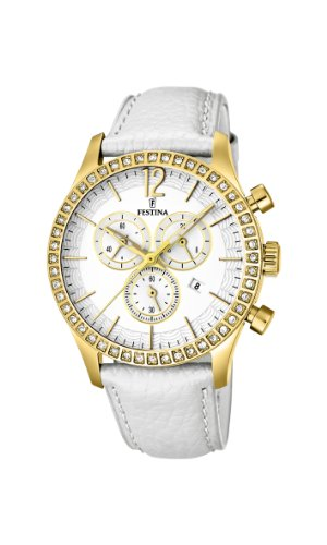 Festina Women's Quartz Watch with Mother Of Pearl Dial Chronograph Display and White Leather Strap F16605/1