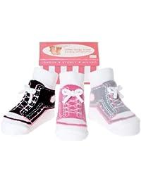 Baby- Emporio -3 Paar- Baby Mädchen Socken,die wie Schuhe aussehen -Anti-Rutsch-Baumwolle - Geschenkkarton-0-9 Monate