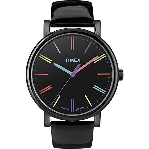 Timex Damen-Armbanduhr Timex Style Analog Leder schwarz T2N790D7 (Leder Timex)