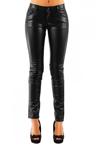 Damen Kunstlederhose Glanz-Optik Glänzend Skinny (Röhre) 320, Grösse:M / 38;Farbe:Schwarz