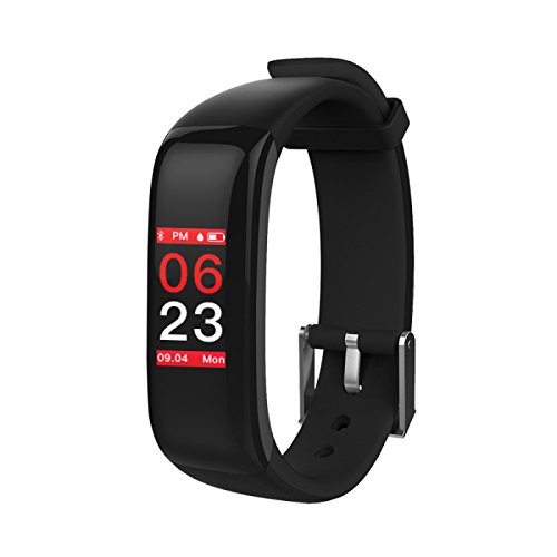OMNiX™:P1 Plus Sports Band Color Display Waterproof Heart Rate Blood Pressure Monitor Smart Bracelet_Black