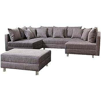 Wohnlandschaft Sofa Couch Ecksofa Eckcouch in Mikrofaser