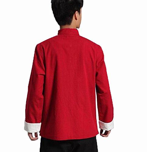 Zooboo Herren Martial Arts Kung Fu Jacke Tang Anzug Tops rot - rot