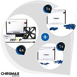 Chromax Bundle Blu: 4x Noctua NF- NF-S12A PWM chromax.black.swap, Ventola 4-Pin (120mm) + NA-SAVP1 / NA-SAV2 chromax.blue