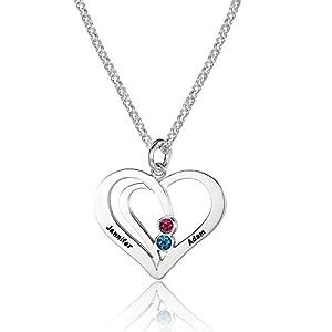 Individuelle Herz Namenskette 925 Sterling Silber mit zwei Wunschname(zu gravieren) und Geburtssteine, Herzanhänger