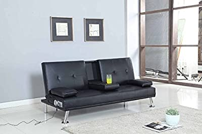 Bluetooth Cinema Sofa Bed with Drink Cup Holder Table Black Faux Leather