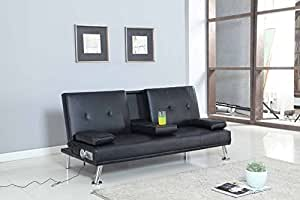 kino sofa bett mit bluetooth becherhalter tisch kunstleder schwarz k che. Black Bedroom Furniture Sets. Home Design Ideas