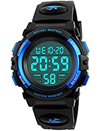 CakCity Boys Sport Digital Watches, Kids Waterproof Sports Outdoor LED Screen Watches Electronic Children Casual Watches