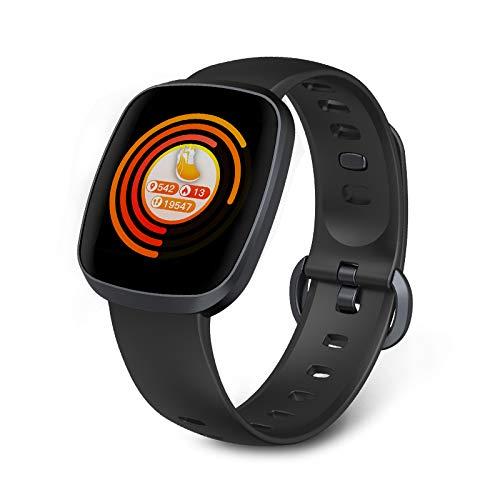 LONG Fitness Tracker, Activity Tracker, Bluetooth-wasserdichtes Pedometer, Gesundheitsüberwachung, Schlafanalyse, Vollbild-Touch, Geeignet für Männer,Gray