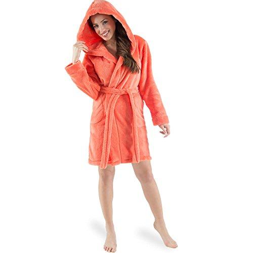 CelinaTex Damen Bademantel mit Kapuze, Flauschiger Sherpa-Fleece, Kurzer Saunamantel für Wellness Spa, 5000539, Trend Morgenmantel Serie Korfu L Lachs