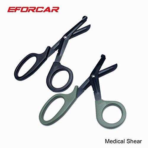 EFORCAR Sanitäter Trauma Medizinische Scheren Tactical Erste-Hilfe-Notfall-Scheren mit Sägezahn für medizinische Bandage -Pack von 2