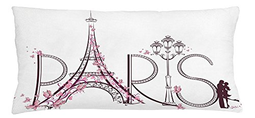 Paris Throw Pillow Cushion Cover, Tower Eiffel with Paris Lettering Couple Trip Flowers Floral Artful Design Print, Decorative Square Accent Pillow Case, 20 X 30 Inches, Plum Pale Pink (Plum Pale)