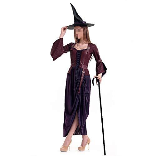 KODH Neue Halloween kostüm qualität Langen Rock Erwachsenen Rollenspiel Hexe kostüm Maskerade Langen Rock kostüm Thema Party kostüm mit Hut (Color : - Komisch Kostüm Party Themen