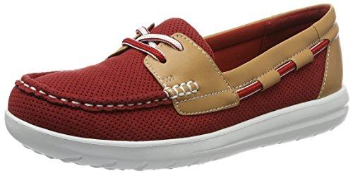 Clarks Jocolin Vista, Scarpe da Barca Donna, Rosso (Red), 39.5 EU