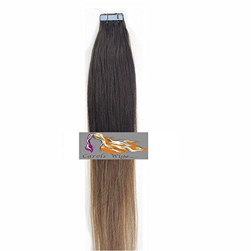 CarolsWigs Meilleure Qualité 18'' Ombre Haut brun foncé Bas brun doré T2/12 à coller avec bande adhésive 100% Premier Extensions De Cheveux Humains Remy 5A vendeur Royaume-Uni