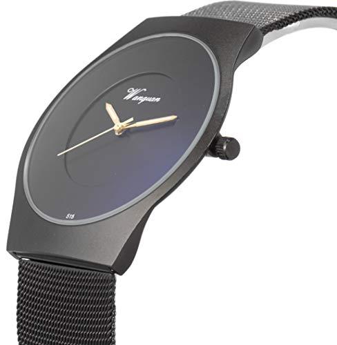SIBOSUN Herren Armbanduhr ultra dünnen schwarz Mesh Edelstahlband Band Japanisches Quarzwerk wasserdicht minimalistisch