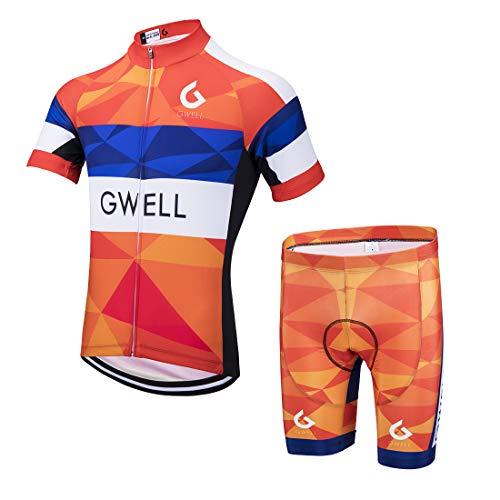 Kurzarm-shirt Reiten (GWELL Herren Radtrikot Set Fahrrad Trikot Kurzarm + Radhose mit Sitzpolster Radsport-Anzüge Orange-2 M)