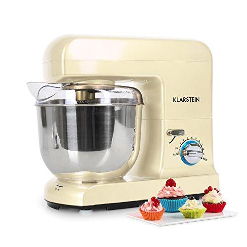 Klarstein Gracia Morena • Robot de cocina • Batidora • Amasadora • 1000 W • 5 L • 1,3 PS • Batido planetario • 10 niveles de velocidad • Recipiente de acero inoxidable • Varillas de metal • Crema