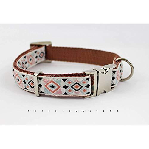 Hundehalsband, Hund, Indianer, abstrakt, hellblau, braun, schwarz, weiß, Muster, silber, Halsband, Hunde, Welpe, Haustier, gewebt, edel -